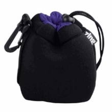 Zing Small Neoprene Pouch w/ Draw String, Black / Blue