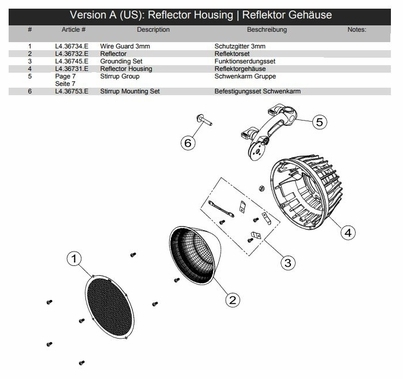 Arri Arrilite 750+ Reflector Replacement Part L4.36732.E