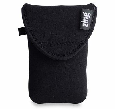 Zing Neoprene Large Belt Bag w/ Flap Closures, ELTRN, Black