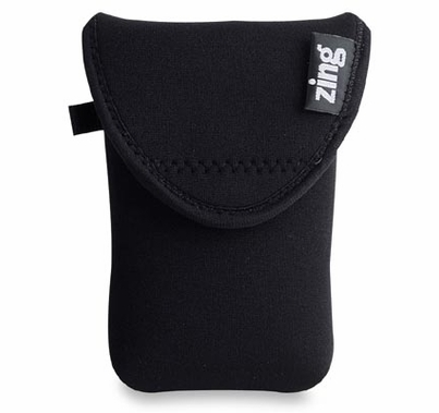 Zing Neoprene Medium Belt Bag w/ Flap Closures, Black