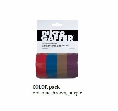 "MicroGaffer Color Gaffer Tape 4 Pack, 1 ""x 8yds Red Blue Purple Brown"