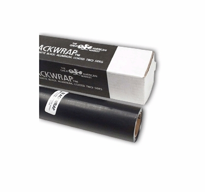 "GAM BlackWrap 24"" x 25ft Black Aluminum Foil Black Wrap"