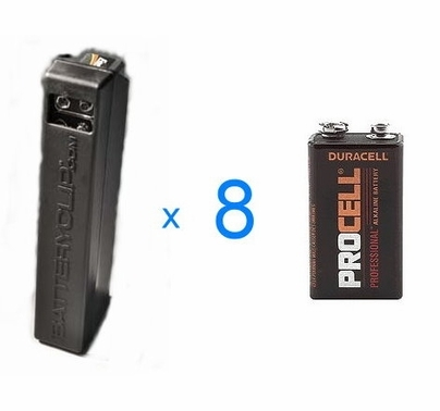 Battery Clip 9V DispenserLOADED with (8) Duracell Procel 9V Batteries