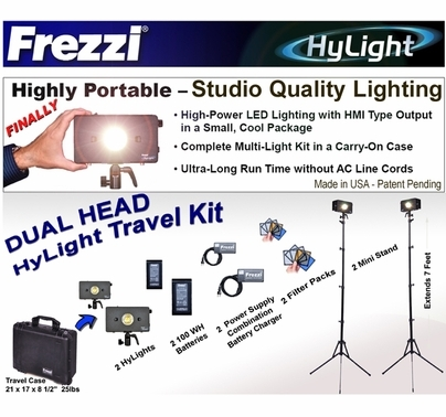 Frezzi Dual Head HyLight LED Travel Light Kit, AC/DC, Anton Bauer