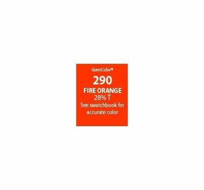 """GAM GAMcolor 290 Fire Orange Lighting Gel Filter Sheet 20""""x24"""""""