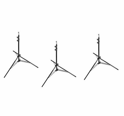 """Manfrotto 3 PACK Black Alu Air Cushioned Compact Stand 7'8"""""""