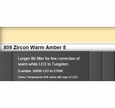 Zircon 809 Warm Amber 8 LED Lighting Gel Sheet