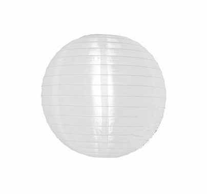 Chinese Nylon Lantern White Artificial Silk 24 inch Diameter Reusable