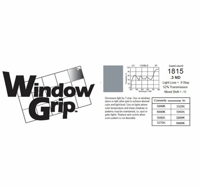 "GAM WindowGrip .3ND Neutral Density Window Gel 48"" x 25ft  ND3 #1815"
