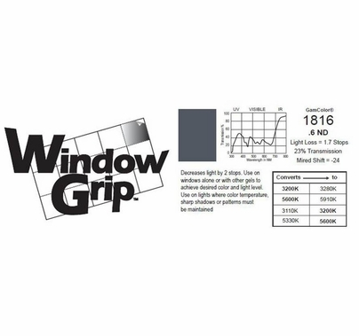 GAM WindowGrip Tape .6ND Neutral Density 6 in. x 25ft Rocket Tape ND6