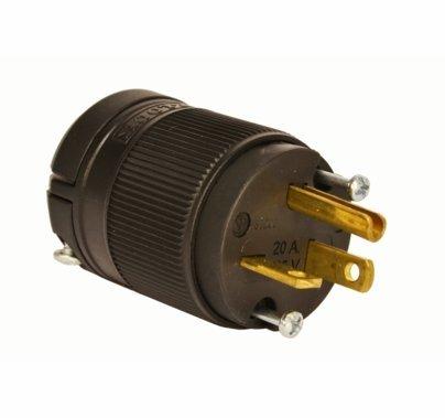 Lex-Loc Male 20A Edison Plug Perpendicular Blades, Black