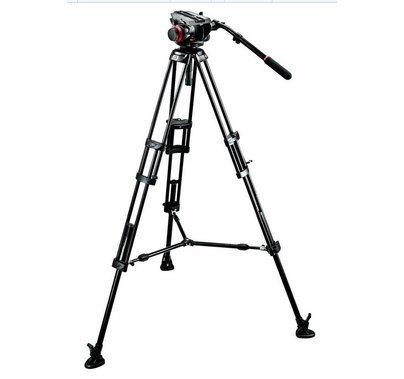 Manfrotto Midi Twin System Video Camera Tripod Kit, 504HD-546BK