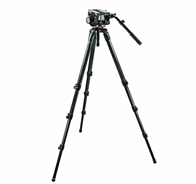 Manfrotto Pro Single Carbon Fiber 100mm Video Camera Tripod Kit