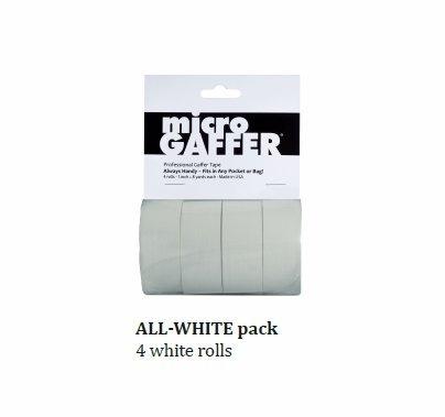 "Microgaffer (4) White Micro Gaffer Tape Rolls 1""x8yds"