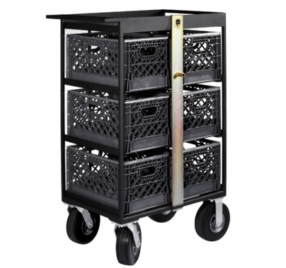 Modern Studio 6 Milk Crate Cart with Crates