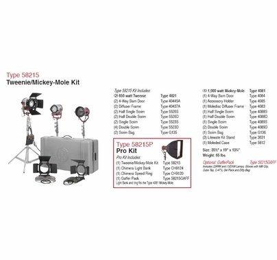 Mole Richardson Tweenie Mickey Pro Light Kit 58215P