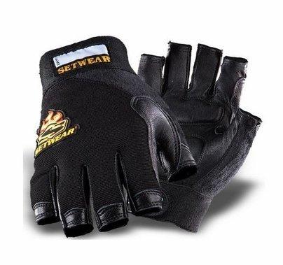 Leather Fingerless Gloves Black Size Small