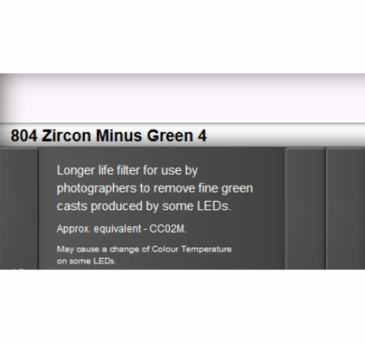 Zircon 804 Minus Green 4 LED Lighting Gel Sheet
