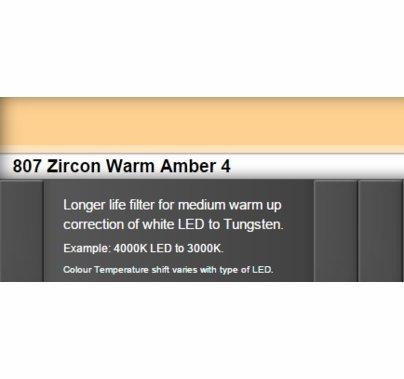 Zircon 807 Warm Amber 4 LED Lighting Gel Sheet