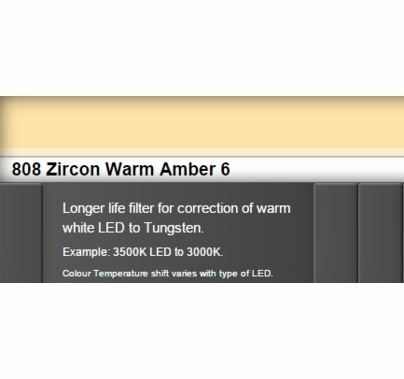 Zircon 808 Warm Amber 6 LED Lighting Gel Sheet