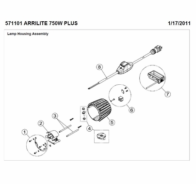 Arri Arrilite 750 Plus Open Face Rear Handle / Hand Grip Set