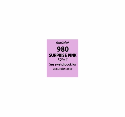 "GAM GamColor 980 Surprise Pink Lighting Gel Filter Sheet 20""x24"""