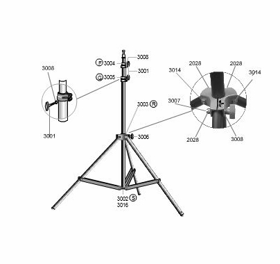 Lowel KS Light Stand Double Threaded Stud, Part 3007