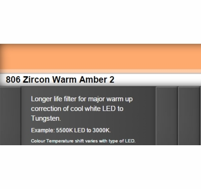 Zircon 806 Warm Amber 2 LED Lighting Gel Sheet