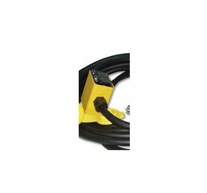 Rubber Quad Box, 15A Edison Plug 25ft 12/3 SO, (2) 20A Duplex
