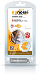 NoNoise Travel Model 161 Thermoplastic Reusable Ear Plugs (SNR 20) (One Pair With Case)