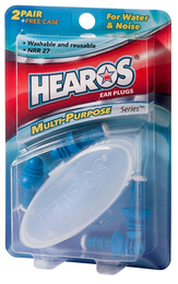 Hearos Multi-Use Reusable Water and Noise Protection Ear Plugs (NRR 27) (Two Pairs + Carry Case)