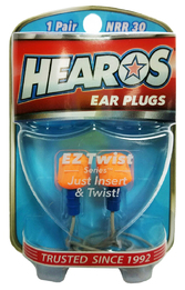 Hearos 5521 EZ Twist UF Corded No-Roll Foam Ear Plugs (NRR 30) (1 Pair w/ Case)