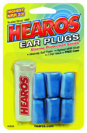 Hearos 2826 Xtreme Protection UF Foam Ear Plugs (NRR 32) (7 Pairs w/Carry Case)