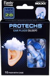 Flents PROTECHS Foam Ear Plugs for Sleep (NRR 28) (10 Pairs)