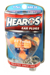 Hearos 5527 EZ Twist UF Corded No-Roll Foam Ear Plugs (NRR 30) (4 Pairs w/ Case)