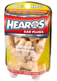 Hearos 2525 Original Formulation Ultimate Softness UF Foam Ear Plugs (NRR 32) (20 Pairs)