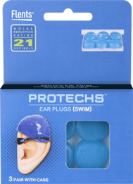 Flents PROTECHS Swim Silicone Ear Plugs (NRR 21) (6 Pairs)