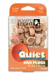 Howard Leight by Honeywell Quiet No-Roll Foam Ear Plugs (NRR 26) (10 Pair Pack)