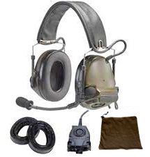 88062-00000 3M Peltor Dual Comm ComTac III w/Two Downleads ACH/MICH Helmet Compatible Two-Way Radio Headset Kit, NATO Wired (Headset, Gel Earseals, One FL5601-02 PTT, Carry/Storage Bag w/ Batteries)
