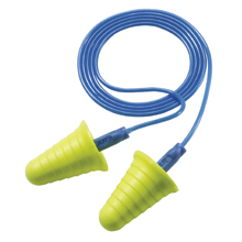 E-A-R Push-Ins With Grip Rings No-Roll Foam Ear Plugs Corded (NRR 30) (Box of 200 Pairs)