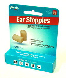 Flents Ear Stopples Wax and Cotton Ear Plugs (NRR 22) (Pack of 2 Pairs)