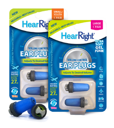 Splintek HearRight GelFoam Ear Plugs with Volume/Pressure Control (NRR 27)
