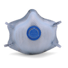 Moldex 2500N95 Plus Nuisance Acid Gases Disposable Respirator with Latex Straps + Button Valve Med/Lg Only (N95+AG) (Case of 100 Masks)