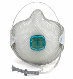 Moldex 2730AN100, 2731AN100 Disposable Respirator with Cloth HandyStrap, Full Face Flange + Ventex Valve (N100) (Case of 20 Individually Wrapped Masks)