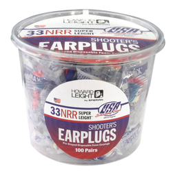 Howard Leight by Honeywell Super Leight USA Shooters Earplugs, Uncorded (NRR 33) (Tub of 100 Pairs)