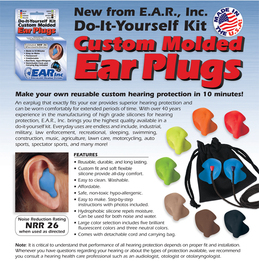 E.A.R. Inc. Do It Yourself Custom Ear Plug Kit (Makes Two Ear Plugs. W/Carry Bag and Detachable Cord)