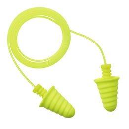 3M E-A-R Military Skull Screws No-Roll Foam Ear Plugs Corded, Bright Yellow - 370-1017 (NRR 32) (Box of 200 Pairs)
