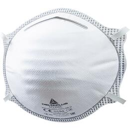 DeltaPlus M1200 N95/FFP2 Disposable Respirator Dust Mask with Dual Adjustable Straps, Metal Nose Clip, and Nose Pad (N95, FFP2) (Case of 200 Masks)