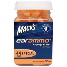 Mack's EarAmmo Foam Ear Plugs for Men (NRR 30) (Bottle of 44 Pairs)