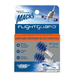 Mack's Flightguard Reusable Airplane Pressure Relief Ear Plugs (NRR 26)